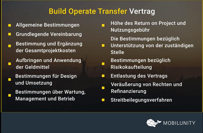 Build Operate Transfer Modell Vertrag
