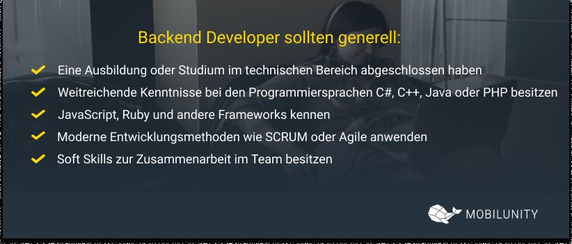 backend developer sollten generell